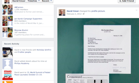 VOA Director David Ensor's public Facebook page shows that he checked on the World Summit of Nobel Peace Laureates on October 21.
