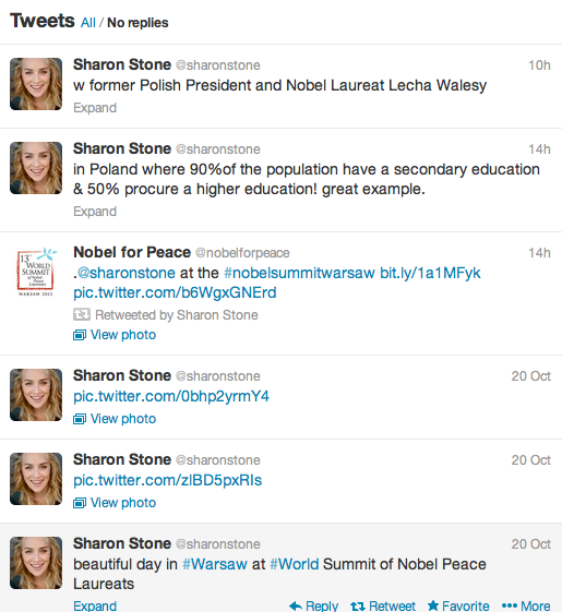 Sharon Stone reports on Twitter about her Peace Summit Award.