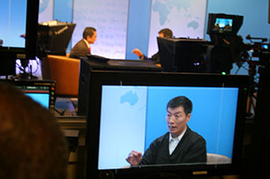 Lobsang Sangay, the political head of the Tibetan government in exile, being interviewed at Radio Free Asia. RFA photo.