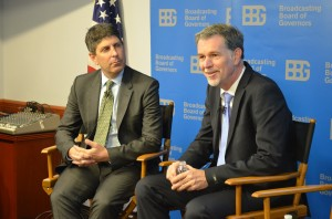 BBG Chair Jeff Shell listens to Netflix CEO Reed Hastings
