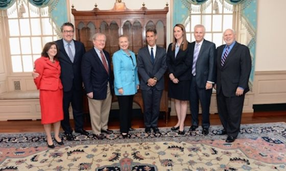 September 13, 2012. BBG Presiding Governor Michael Lynton led the Board's delegation to the State Department for a meeting with Secretary of State Hillary Clinton, an ex officio BBB member. The delegation included Governors Victor Ashe, Dennis Mulhaupt, Susan McCue, and Michael Meehan, as well as Richard M. Lobo, Director of the International Broadcasting Bureau. Under Secretary of State Tara Sonenshine, the Secretary's representative to the BBG, took a leading role in framing the discussion.