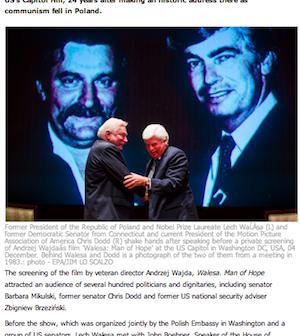 Polish Radio report on Wałęsa's visit to Capitol Hill Wednesday and screening of ' Wałęsa: Man of Hope.'