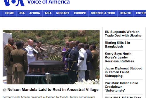 Screenshot of VOA English Homepage taken at 11AM, 12-15-13, shows no news from Ukraine. There is no report on Senator McCain's visit.