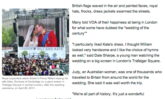 From VOA report on British royal wedding, April 28, 2011. It still shows zero Facebook Likes on Dec. 31, 2013. VOA English website had at least 27 separate reports on the 2011 royal wedding in London but not a single separate report of its own on the U.S. official reaction to the terrorist attacks in Russia on Dec. 29 and Dec. 30.