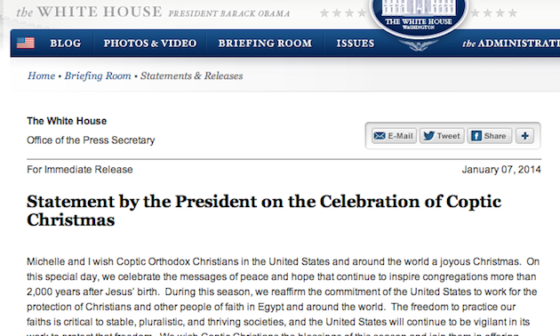 Voice of America did not report to the world on this religious freedom message from President Obama on the celebration of Coptic Christmas.