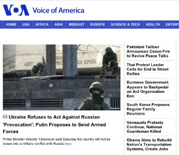 VOA Screen Shot 2014-03-01 at 11.04 AM EST still shows an old report on Ukraine and nothing on the upper house of the Russian Parliament approving President Putin's request to use military force.